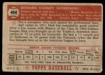 1952 Topps #404  Dick Brodowski  Back Thumbnail