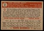 1952 Topps #17  Jim Hegan  Back Thumbnail
