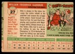 1955 Topps #27  Billy Gardner  Back Thumbnail