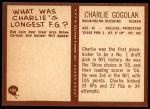 1967 Philadelphia #182  Charlie Gogolak  Back Thumbnail