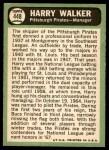 1967 Topps #448  Harry Walker  Back Thumbnail