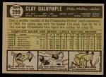 1961 Topps #299  Clay Dalrymple  Back Thumbnail