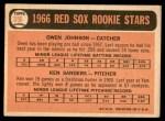 1966 Topps #356   -  Ken Sanders / Owen Johnson Red Sox Rookies Back Thumbnail