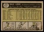 1961 Topps #117  Dale Long  Back Thumbnail