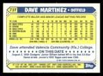 1987 Topps Traded #73 T Dave Martinez  Back Thumbnail
