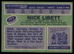 1976 Topps #171  Nick Libett  Back Thumbnail