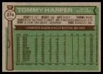 1976 Topps #274  Tommy Harper  Back Thumbnail
