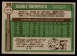 1976 Topps #111  Danny Thompson  Back Thumbnail