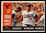 1960 Topps #388   -  Gil Hodges 1959 World Series - Game #4 - Hodges Winning Homer Front Thumbnail
