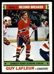1977 Topps #216   -  Guy Lafleur Record Breaker - Longest Point-Scoring Streak Front Thumbnail