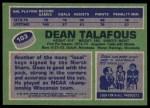 1976 Topps #103  Dean Talafous  Back Thumbnail