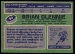 1976 Topps #99  Brian Glennie  Back Thumbnail