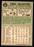 1967 Topps #64  Fred Valentine  Back Thumbnail