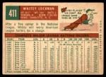 1959 Topps #411  Whitey Lockman  Back Thumbnail