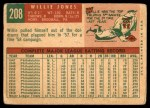 1959 Topps #208  Willie Jones  Back Thumbnail