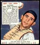 1952 Red Man #3 AL Yogi Berra  Front Thumbnail