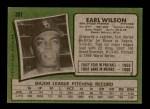 1971 Topps #301  Earl Wilson  Back Thumbnail