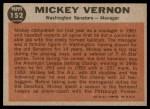 1962 Topps #152 GRN Mickey Vernon  Back Thumbnail