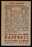 1951 Bowman #34  Marty Marion  Back Thumbnail