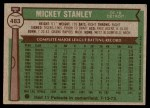 1976 Topps #483  Mickey Stanley  Back Thumbnail