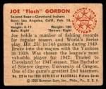1950 Bowman #129  Joe Gordon  Back Thumbnail