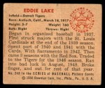 1950 Bowman #240 CR Eddie Lake  Back Thumbnail