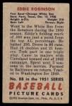 1951 Bowman #88  Eddie Robinson  Back Thumbnail