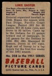 1951 Bowman #258  Luke Easter  Back Thumbnail
