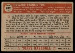 1952 Topps #209  Howard Fox  Back Thumbnail
