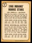1968 Topps #16 A  -  Lou Piniella / Richie Scheinblum Indians Rookies Back Thumbnail
