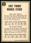 1967 Topps #137   -  Ron Clark / Jim Ollom Twins Rookies Back Thumbnail