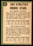 1967 Topps #542   -  Rick Monday / Tony Pierce Athletics Rookies Back Thumbnail