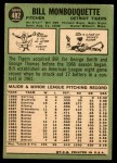 1967 Topps #482  Bill Monbouquette  Back Thumbnail