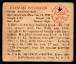 1950 Bowman #27  Herm Wehmeier  Back Thumbnail
