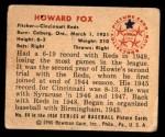 1950 Bowman #80  Howard Fox  Back Thumbnail