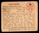 1950 Bowman #107  Sam Dente  Back Thumbnail