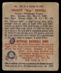 1949 Bowman #234  Rip Sewell  Back Thumbnail