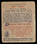 1949 Bowman #4 NNOF Jerry Priddy  Back Thumbnail