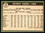 1967 Topps #378   Tigers Team Back Thumbnail