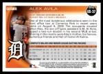 2010 Topps Update #37  Alex Avila  Back Thumbnail