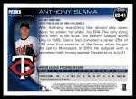 2010 Topps Update #41  Anthony Slama  Back Thumbnail