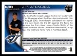 2010 Topps Update #181  J.P. Arencibia  Back Thumbnail