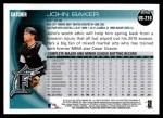 2010 Topps Update #216  John Baker  Back Thumbnail
