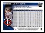 2010 Topps Update #252  Jim Thome  Back Thumbnail