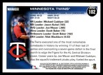 2010 Topps #102   Twins Team Back Thumbnail