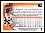 2010 Topps #103  Daniel Murphy  Back Thumbnail