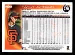 2010 Topps #220  Randy Johnson  Back Thumbnail