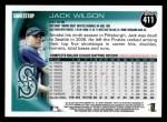 2010 Topps #411  Jack Wilson  Back Thumbnail