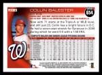 2010 Topps #654  Collin Balester  Back Thumbnail
