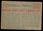 1959 Topps #470   -  Stan Musial Raps Out 3000th Hit Back Thumbnail